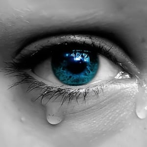 Closeup of an Eye With Tears Coming Out