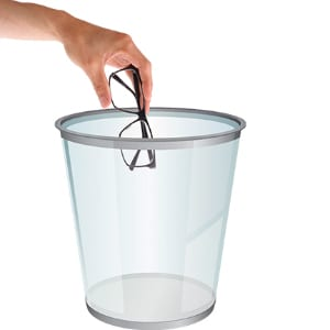 Person Throwing Glasses into a Trashcan
