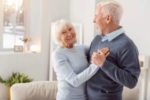 Elderly couple celebrating after Plastic Surgery