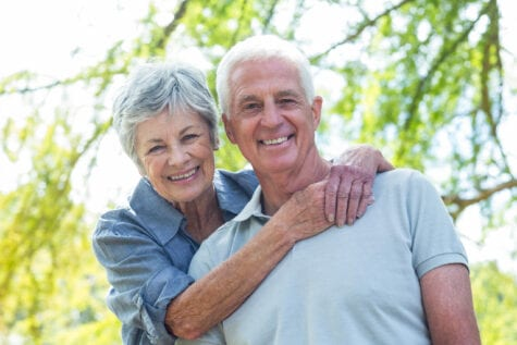 Older couple smiling after a vitrectomy